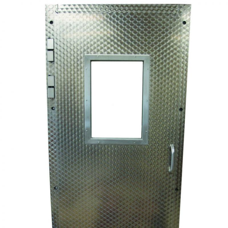 Heavy steel pedestrian door