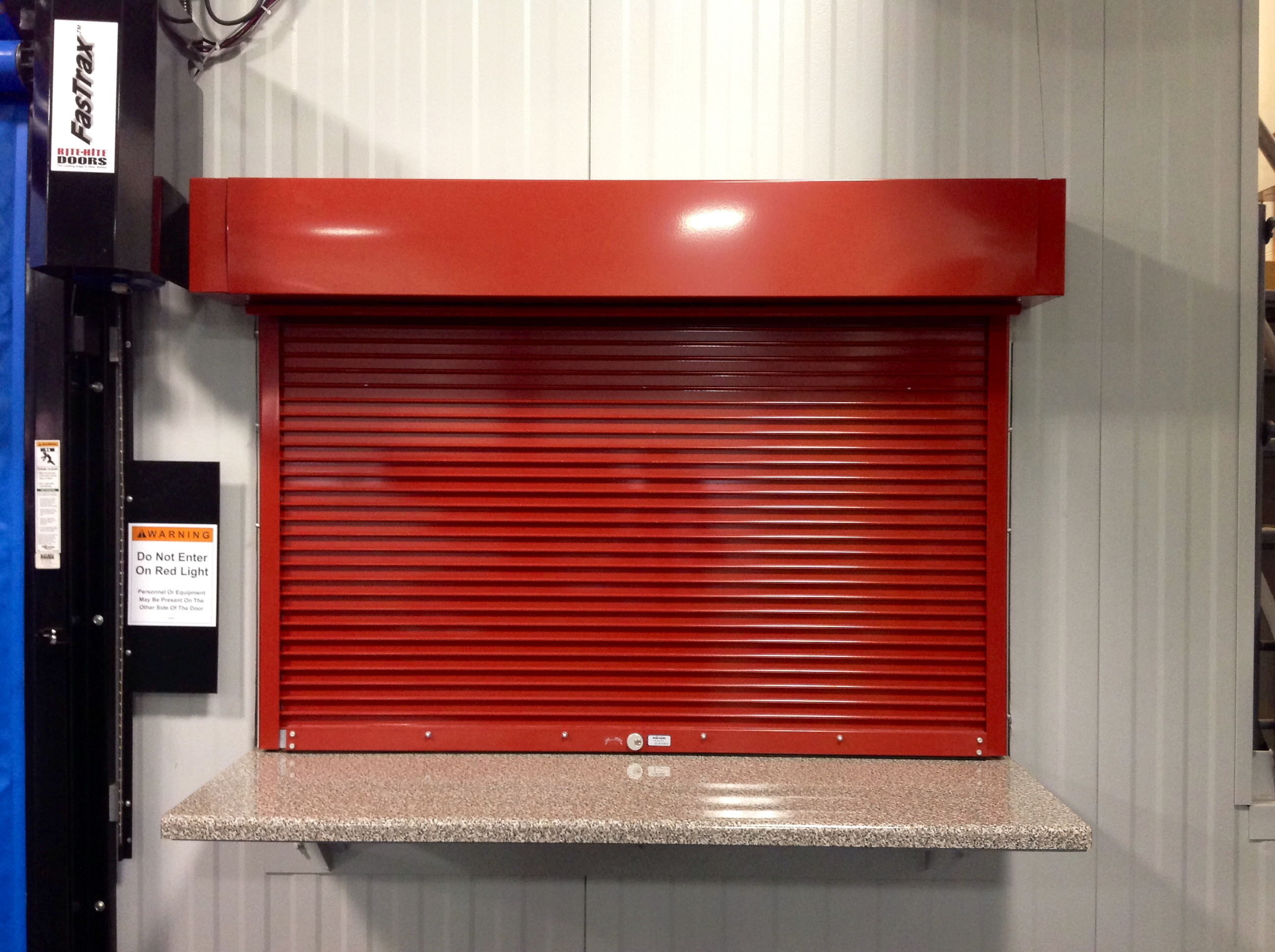 Red Rolling Fire Rated Counter Shutter Door & Rolling Fire Rated Counter Shutter | W.E. Carlson Corporation