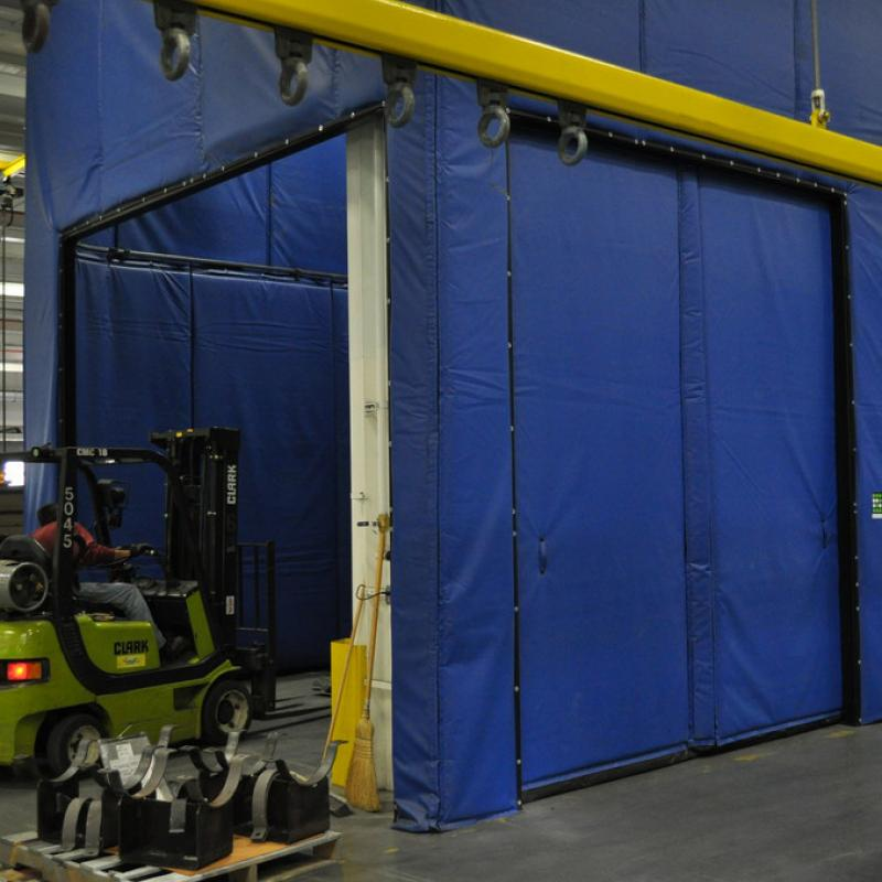 Acoustic Curtain Wall with forklift driving through