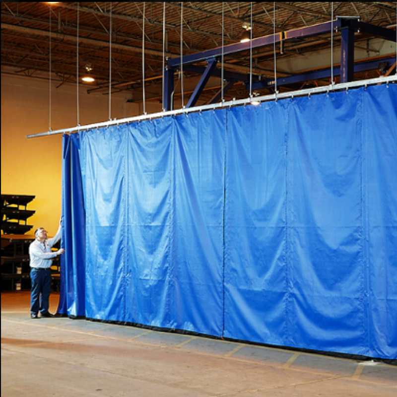 Flexible Sliding Curtain Walls separate warehouse spaces