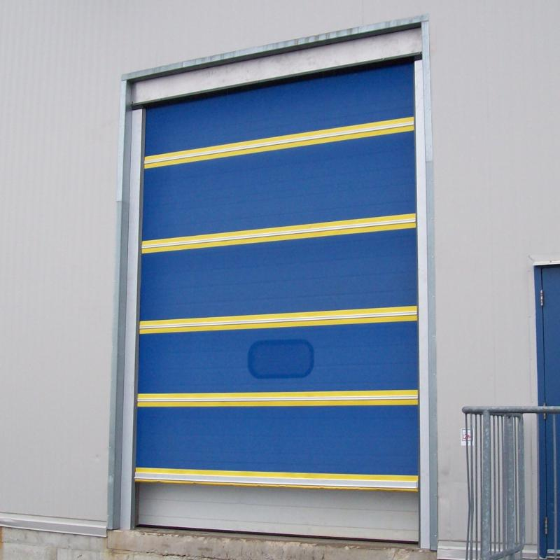 Exterior shot of a loading dock with fabric screen door