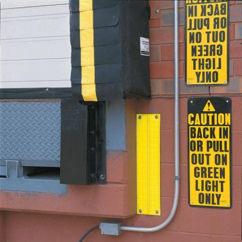 Yellow Reflecto Guide Safety Strips define loading dock areas