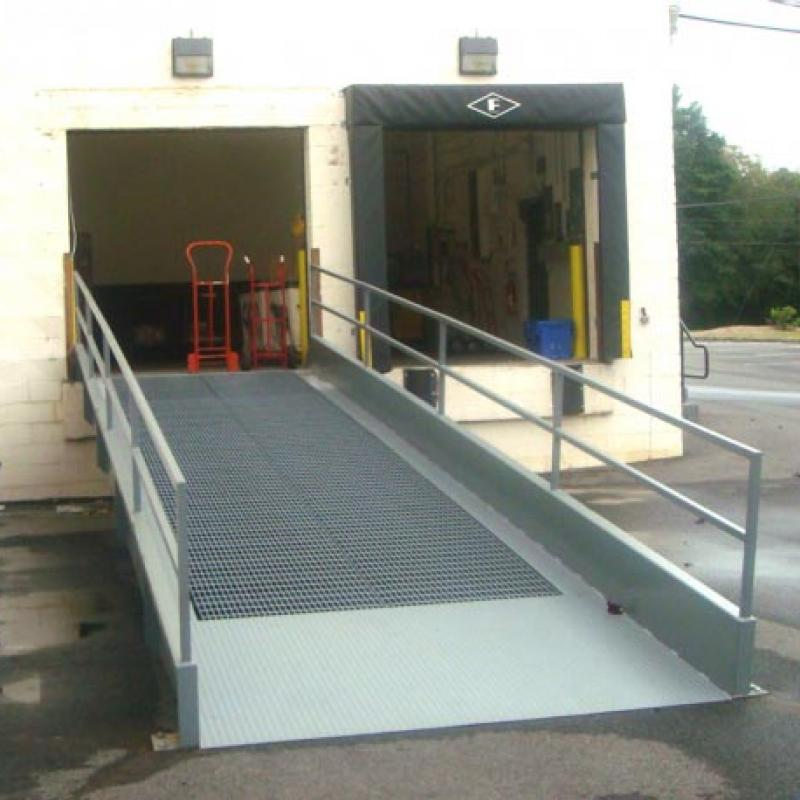Steel Dock to Grade Ramp extended out from loading dock