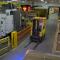 Forklift traveling underneath the Safe-T-Signal communication system