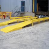 Wheel risers in place at the loading dock