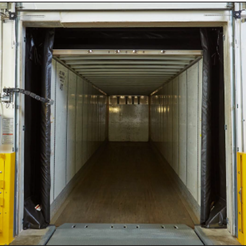 Shot of the interior of a semi tailer sealed by the Eclipse Dock Shelter