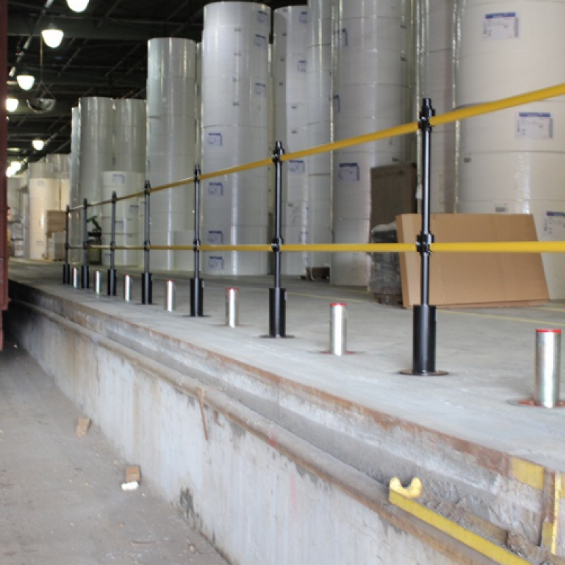 Retractable GuardRite Barrier protects employees from in-plant drop-offs