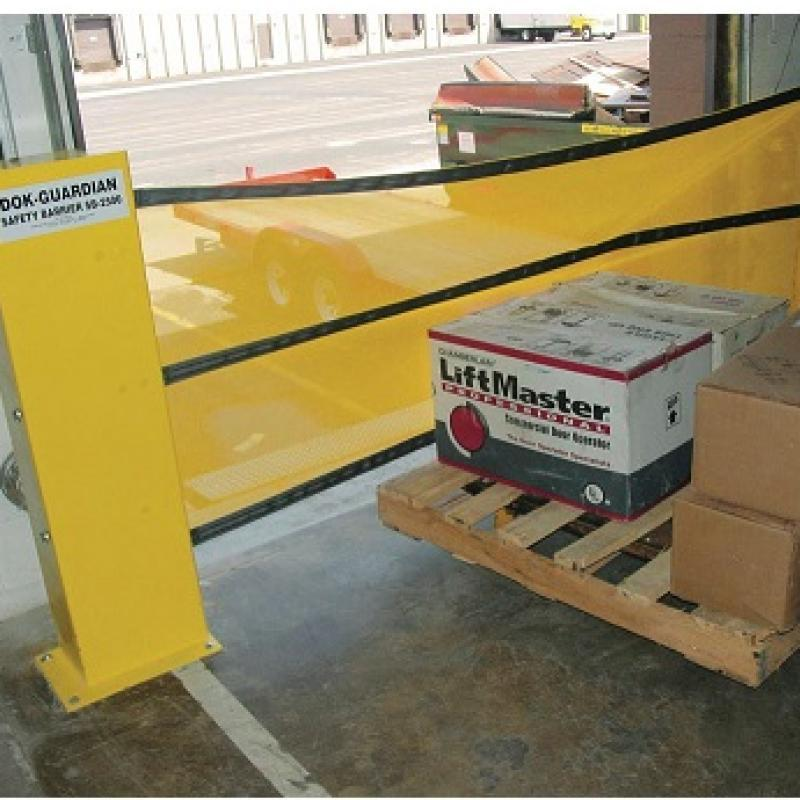Forklift driving toward Light-duty Dok-Guardian