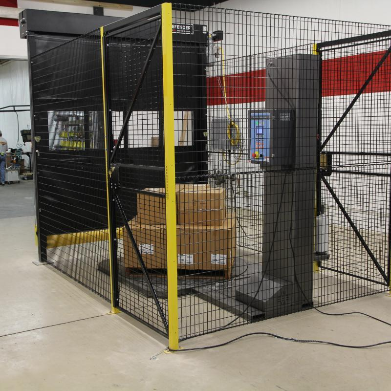 Defender Cell cage protecting inventory and machinery