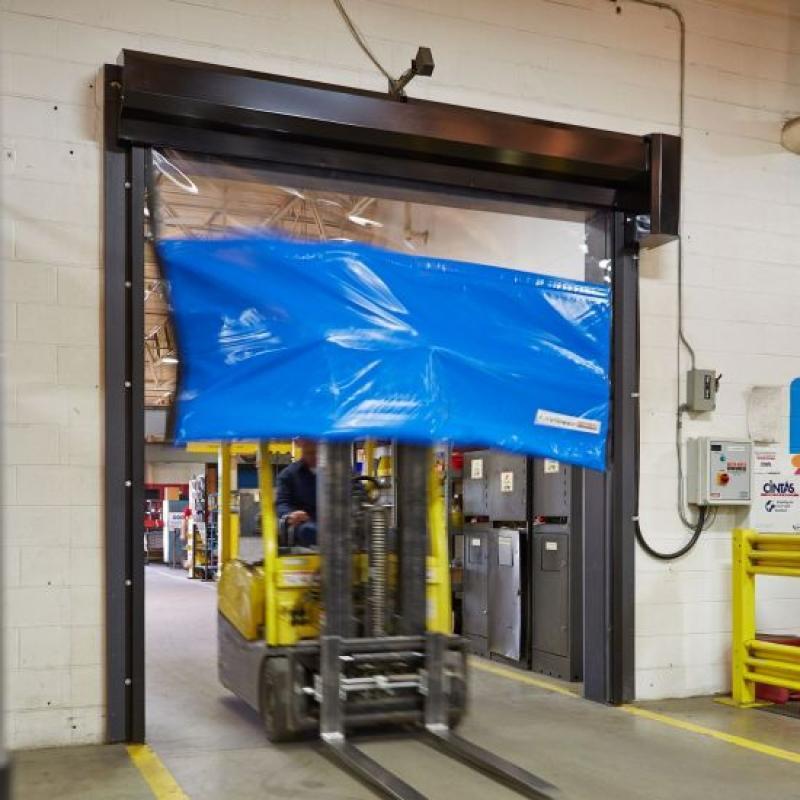 Forklift traveling through LiteSpeed High Performance Door