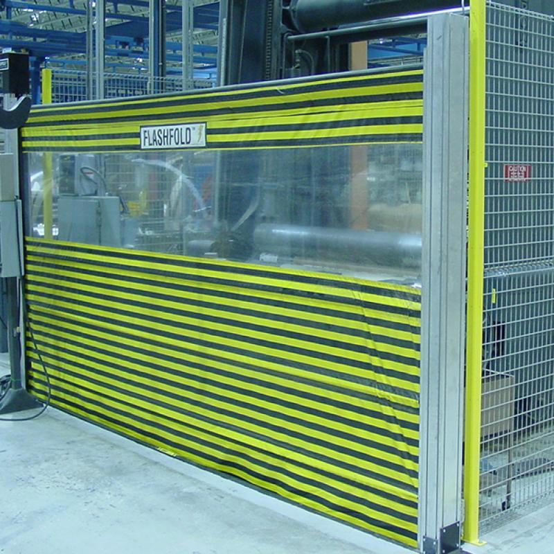 FlashFold Automated Barrier Door in vertical position