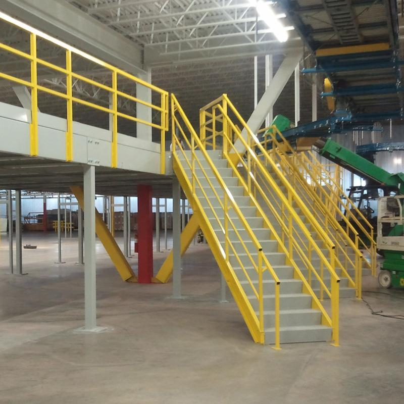 Stairway up to elevated Mezzanine floor at warehouse