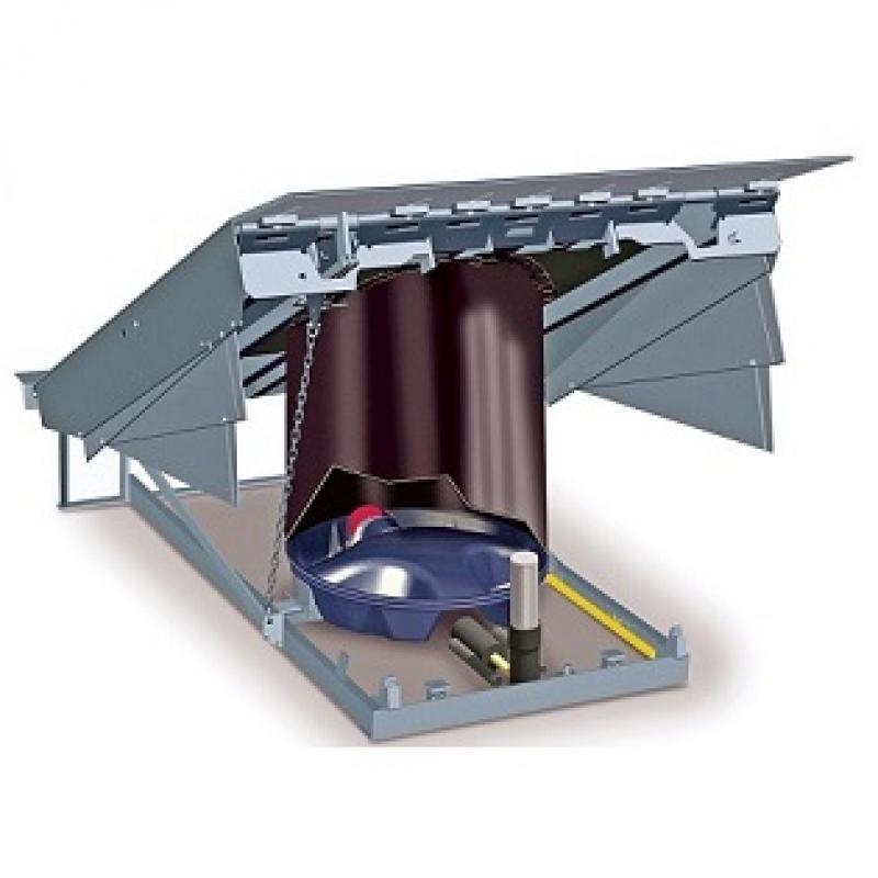 Cutaway of RHA Air-Powered Dock Leveler, showing air chamber