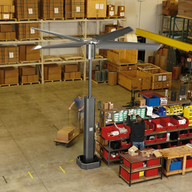 Floor-mounted Renegade Fan in use at a warehouse