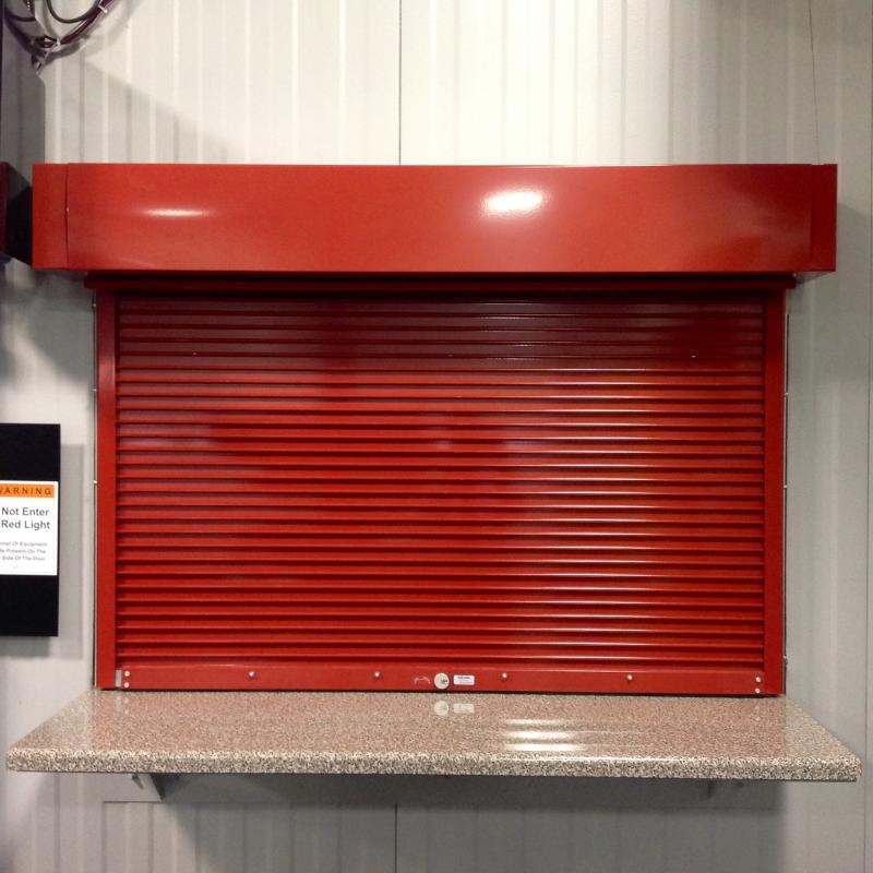 Red Rolling Fire Rated Counter Shutter Door