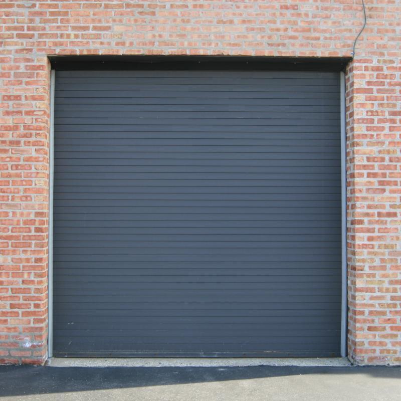 Grey rolling steel door