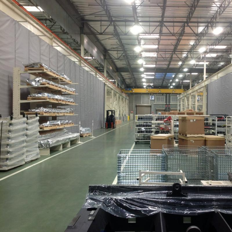 Warehouse after installation of Fabric Curtain Walls