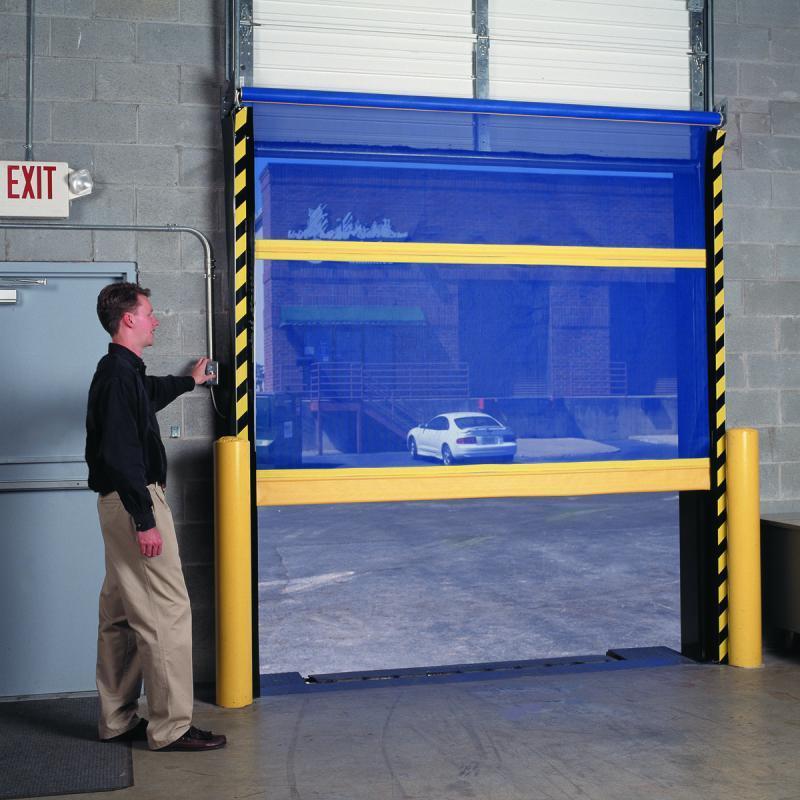 Employee opening fabric screen door with control box