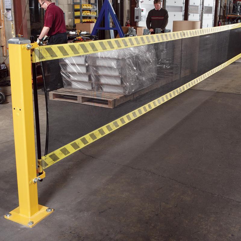 SpanGuard Strap Barrier designates forklift area