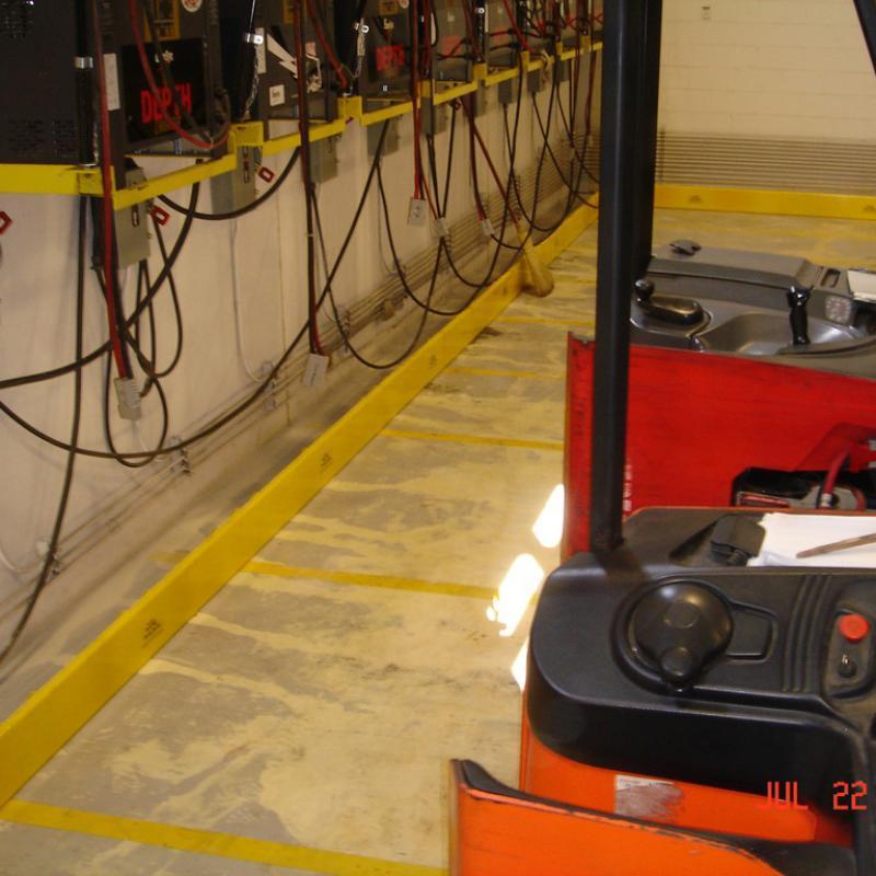 Ground-mounted SureStop barrier stops forklift collisions