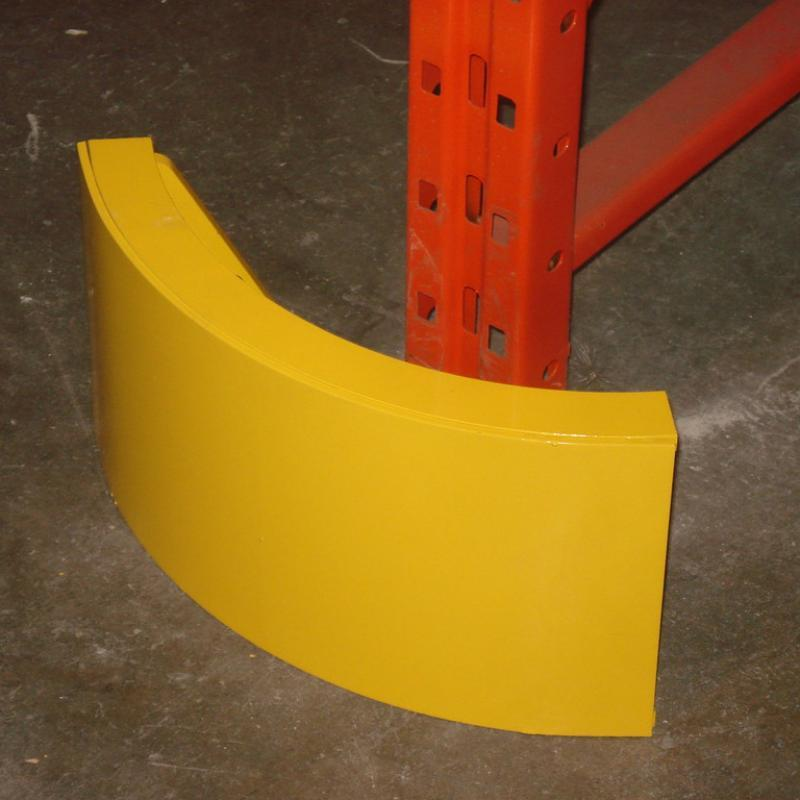 Curved SureStop Barrier protects racks from forklift traffic