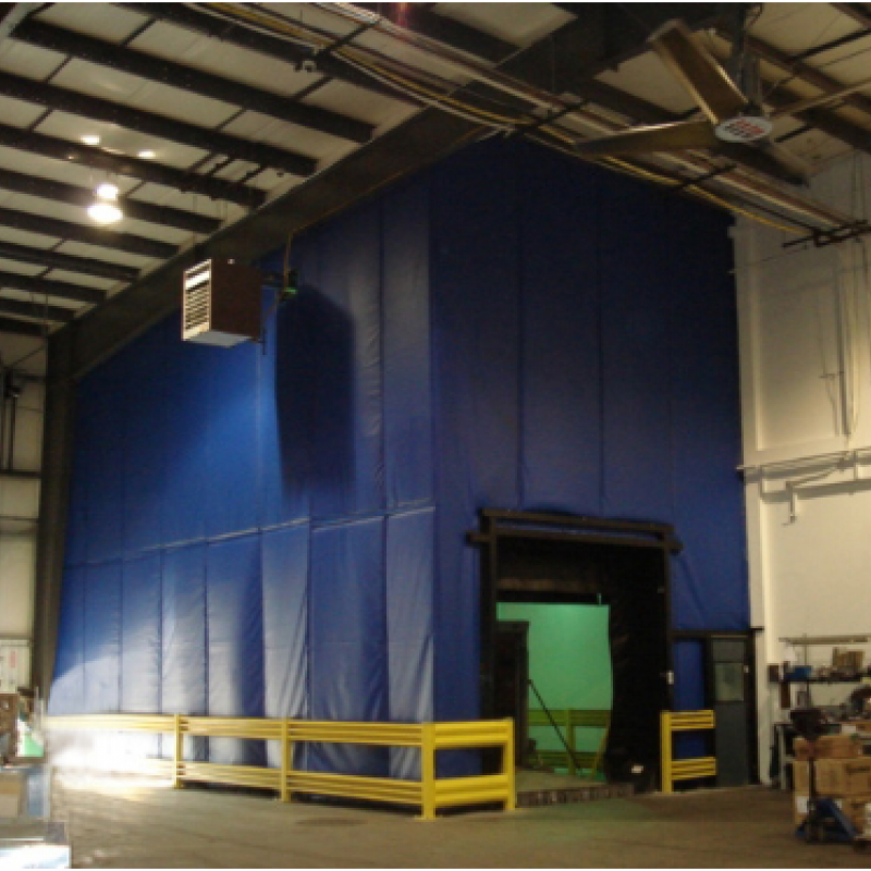 A Loading Dock Enclosure made of flexible curtain walls