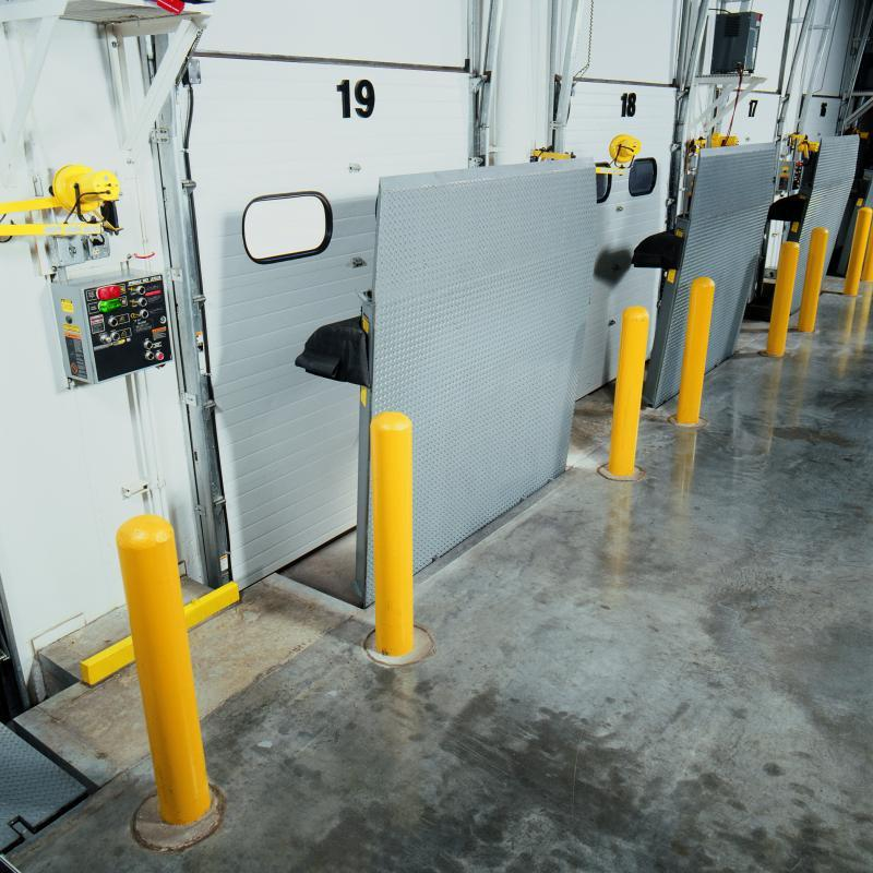 An interior view of a series of RHV Vertical Dock Levelers