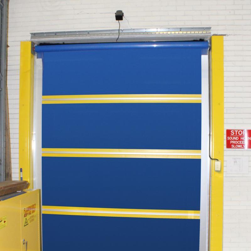 Fabric screen door in closed position