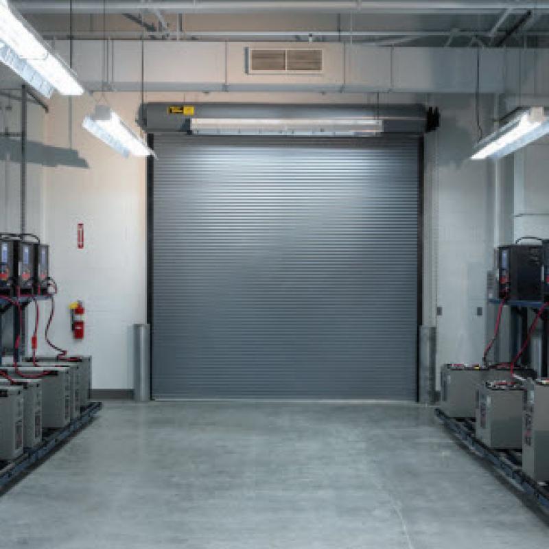 Interior view of a grey rolling steel door