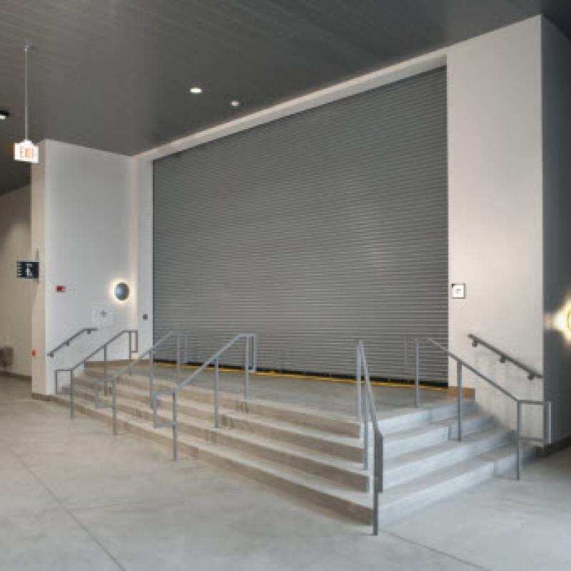 Interior steps leading to the Rolling Steel Fire Door