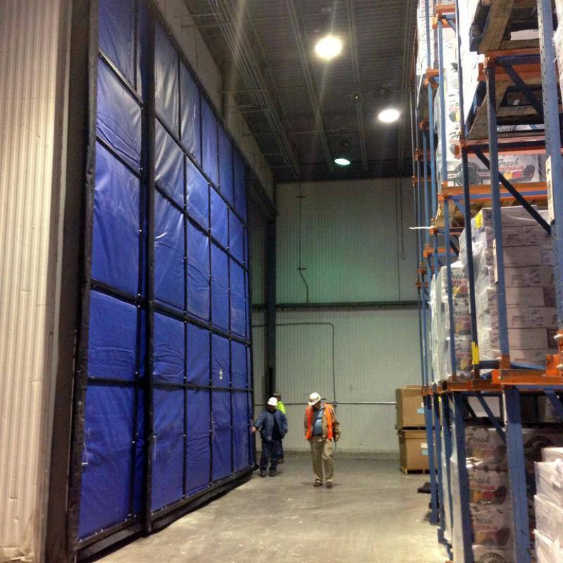 Blast Freezer Curtain Walls in a refrigerated facility