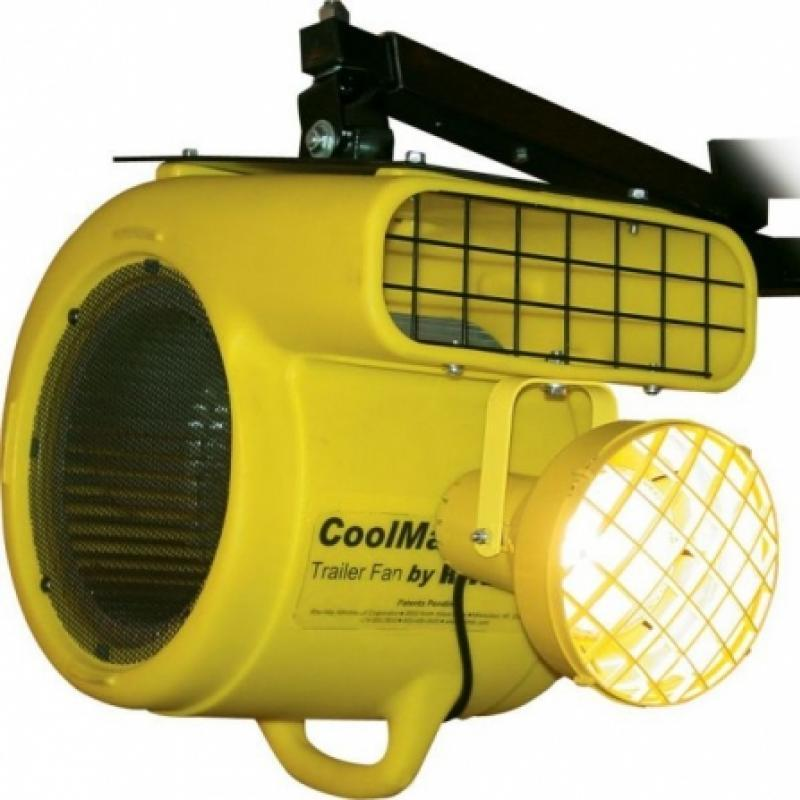 CoolMan Dock Fan with light and wall mount attached