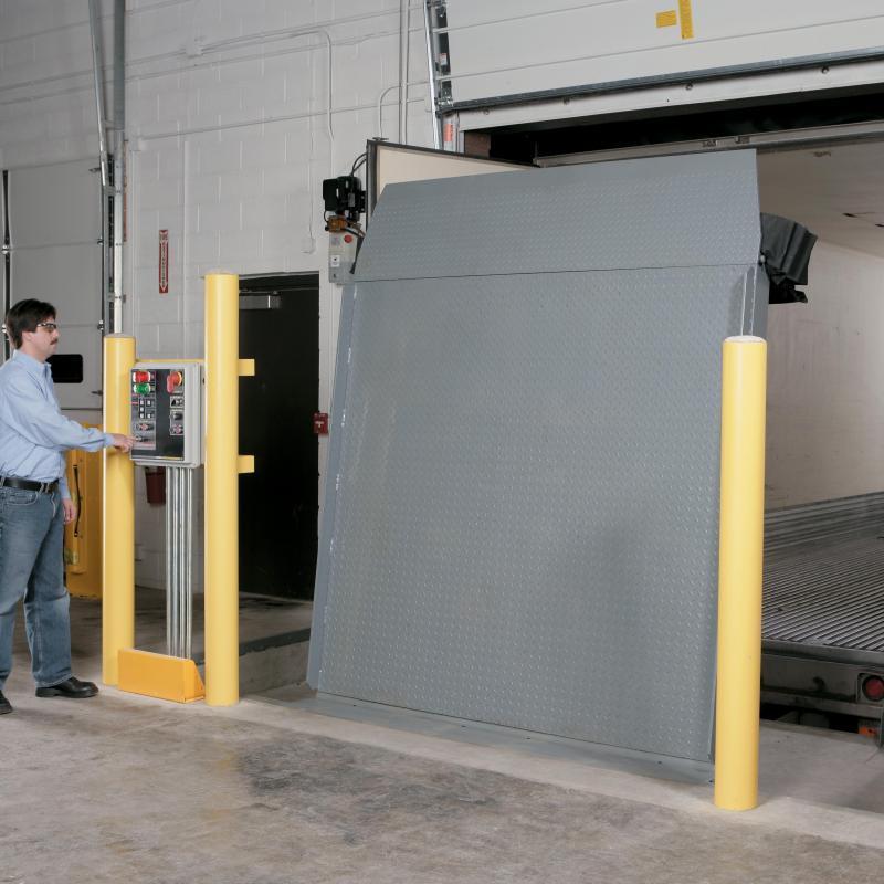 "RHV Vertical Hydraulic Dock Leveler in ""up"" position"