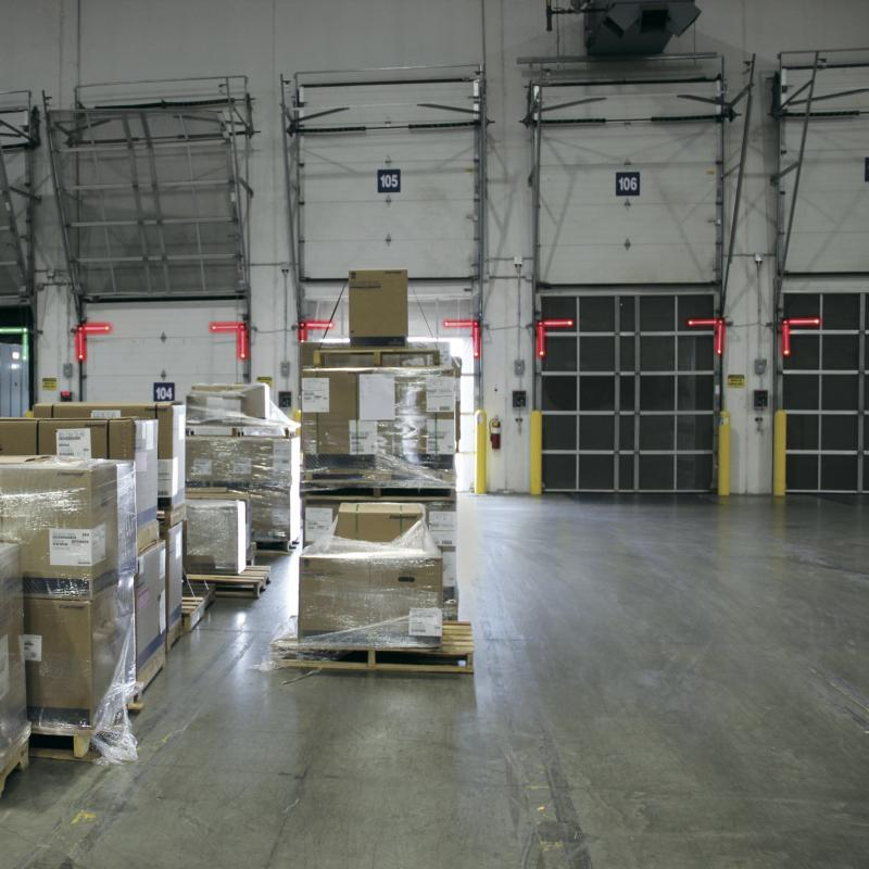 A series of Rite-Vu Light communications systems at a warehouse