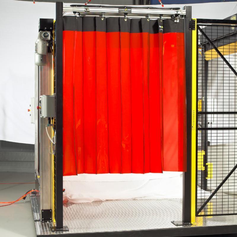 SlideAir Curtain pulled across safety fence