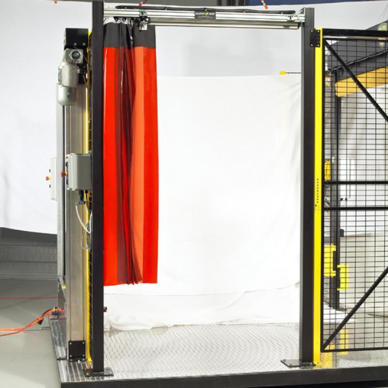 SlideAir Curtain opened at safety gate
