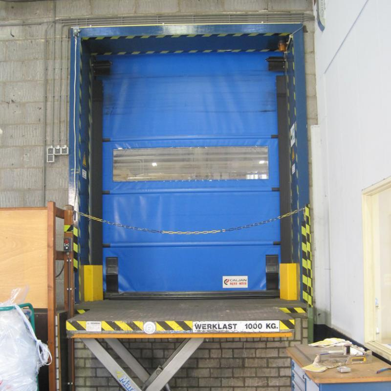 Trakline Fold Door in closed position at vacant loading dock