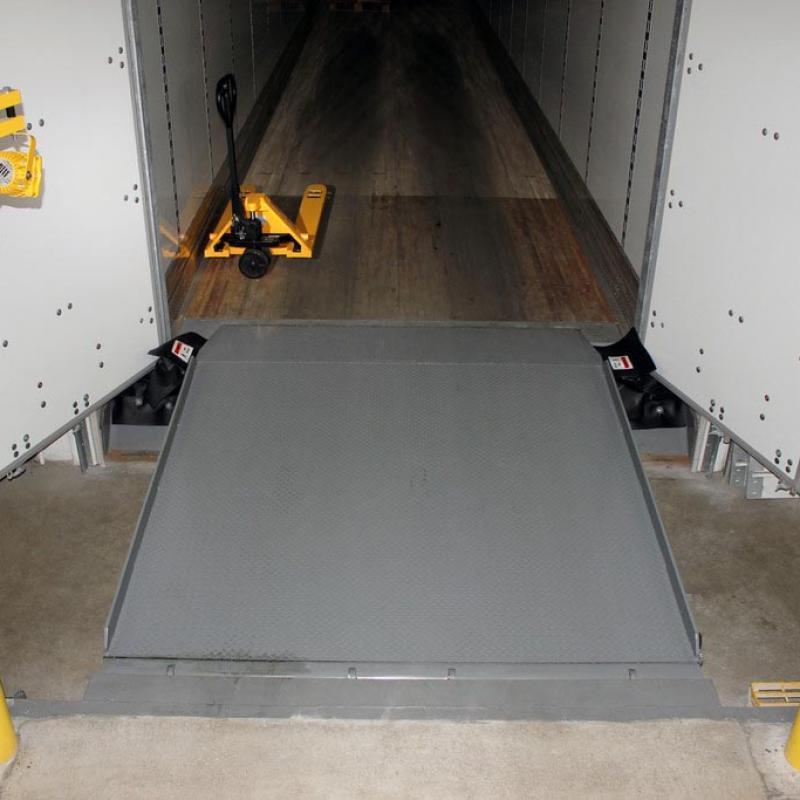 VHLS Under-Leveler Seal installed below engaged dock leveler